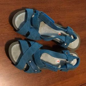 Merrell Teal Wedge Sandals, 6 Like New